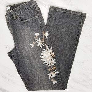 METRO 7 High Rise Embroidered Flower Jeans Size 10